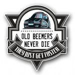 Koolart OLD BEEMERS NEVER DIE Motif For Retro Black E36 BMW 3 Series M3 External Vinyl Car Sticker Decal Badge 100x100mm